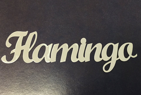 "FLAMINGO Silver Title Travel Laser Cuts 3""X12"" 1pc Scrapbooksrus"