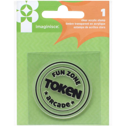 Imaginisce FAMILY FUN Arcade Token Acrylic Clear Stamp 1pc - Scrapbook Kyandyland