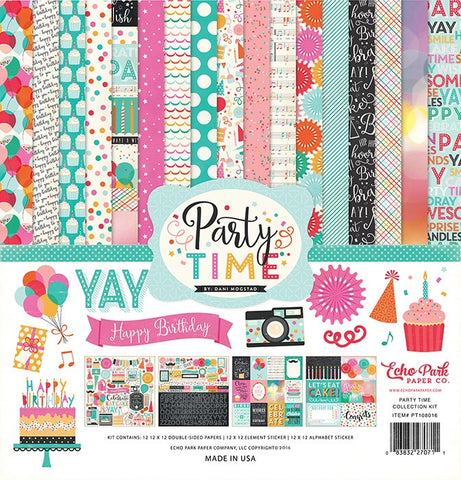 "Echo Park PARTY TIME 12""X12"" 13pc Scrapbook Kit"