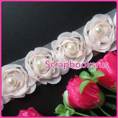 Peach Rose Ribbon with Pearl Scrapbooksrus