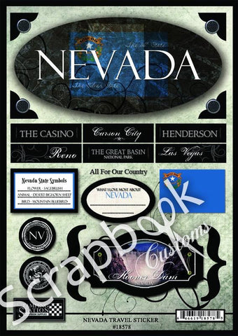 "Scrapbook Customs NEVADA TRAVEL 10""X 7"" Stickers 19 pc LV - Scrapbook Kyandyland"