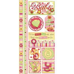 Bobunny SWEET BABY GIRL A Gift Of Love Stickers 10pc - Scrapbook Kyandyland