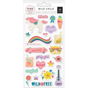Pink Paislee WILD CHILD Puffy Stickers Girly 22pc