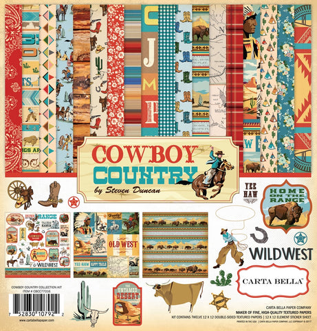 "Echo Park COWBOY COUNTRY Element Sticker Carta Bella Collection Kit 12""X12"" Scrapbooksrus"