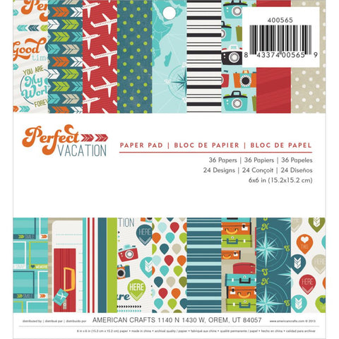 "American Crafts PERFECT VACATION 6""X6"" Paper Pad 36pc - Scrapbook Kyandyland"