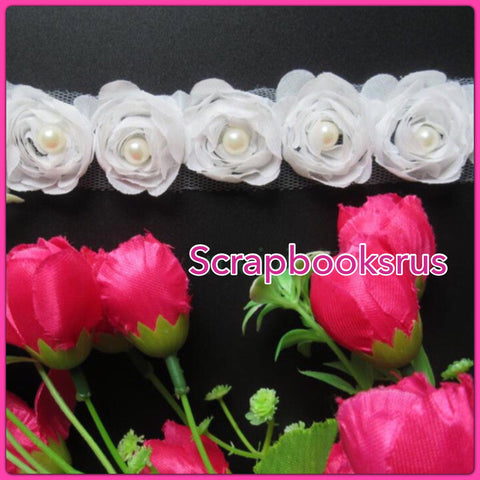 White Fabric Ribbon Roses with Pearls @Scrapbooksrus Las Vegas