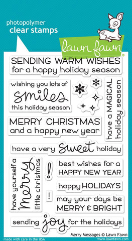 Lawn Fawn MERRY MESSAGES Clear Stamps 15 pc Scrapbooksrus