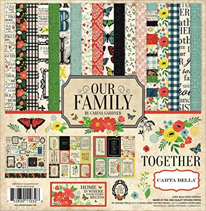"Carta Bella 12""x12"" OUR FAMILY 13pc COLLECTION KIT Scrapbooksrus"