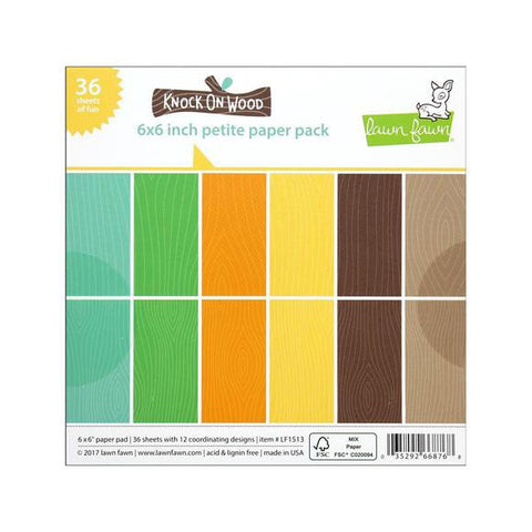 "Lawn Fawn KNOCK ON WOOD6""X6"" Petite Paper Pack 36pc"