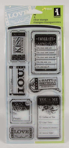 Inkadinkado TICKETS & TAGS Clear Stamps 7pc - Scrapbooksrus