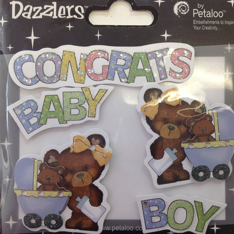 Petaloo CONGRATS BABY BOY Dazzlers 3D Stickers 5pc - Scrapbook Kyandyland