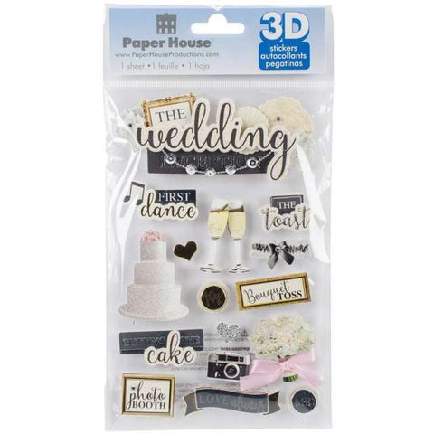 "Paper House WEDDING RECEPTION 3D Stickers 4.5""x 7"" 16pc"