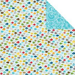 "Bella Blvd Camp Out GONE FISHING 12""X12 Scrapbook Paper - Scrapbook Kyandyland"
