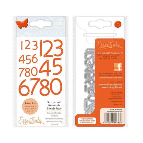 Tonic Studios Essentials ATTRACTION Numerals Simple Type 1 pc. Scrapbooksrus