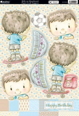 Kanban BILLY ON SKATEBOARD Boy DieCut Card Layer Topper - Scrapbook Kyandyland