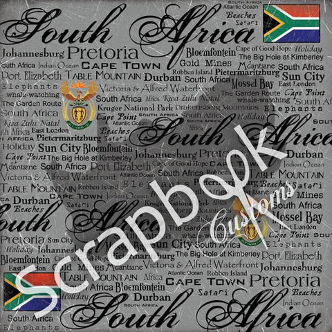 "Africa 12""X12"" South Africa SCRATCHY Travel Scrapbook Papers - Scrapbook Kyandyland"