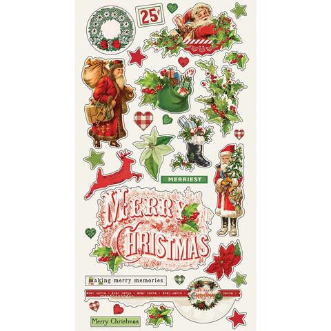 "Simple Stories Simple Vintage CHRISTMAS Chipboard Stickers 6""X6"" 32 pc Scrapbooksrus"