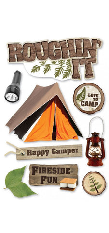 Camp Paper House ROUGHIN' IT 3D Stickers 10pc