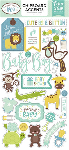 "Echo Park 6""x12"" SWEET BABY BOY Chipboard  Phrases 27pc Scrapbooksrus"