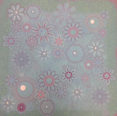 Kyandyland TURQUOISE FLOWER 12x12 Scrapbook Papers 2pc - Scrapbook Kyandyland