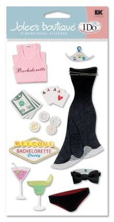 Ek Success BACHELORETTE PARTY Jolee's 3D Stickers 14pc - Scrapbook Kyandyland