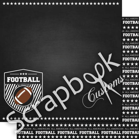 "FOOTBALL DOUBLE SIDED CHALKBOARD SPORTS 12""X12"" Paper Scrapbooksrus"