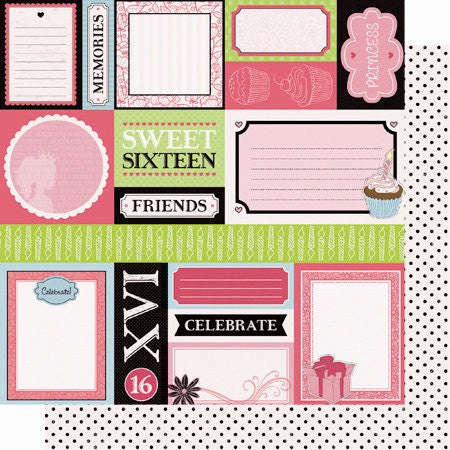 "Best Creation SIXTEEN CANDLES 12""x12"" SC006 Glitter Sheet - Scrapbook Kyandyland"