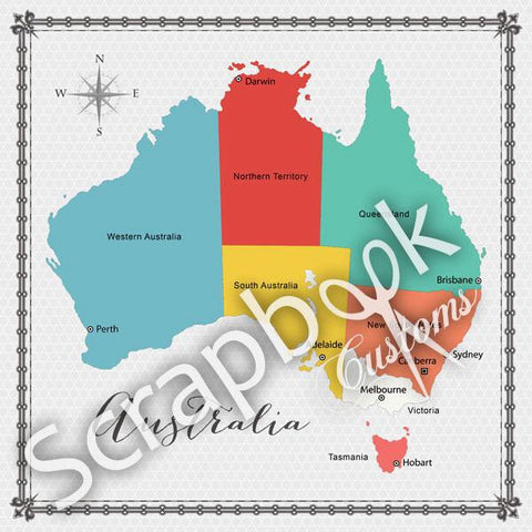 "AUSTRALIA MEMORIES 12""X12"" Scrapbook Customs Paper - Scrapbook Kyandyland"