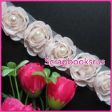 Peach Rose Ribbon with Pearl @Scrapbooksrus
