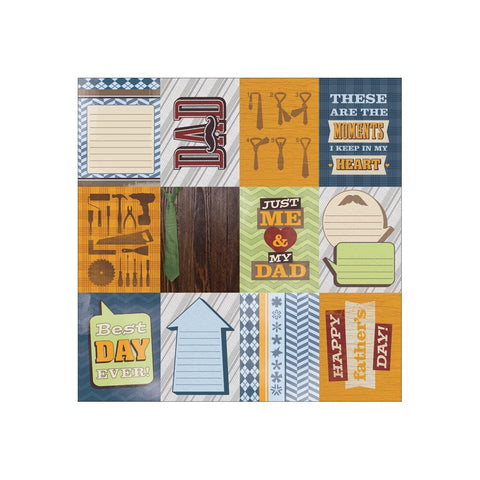 "Paper House DAD TAGS 12""X12"" Paper - Scrapbook Kyandyland"