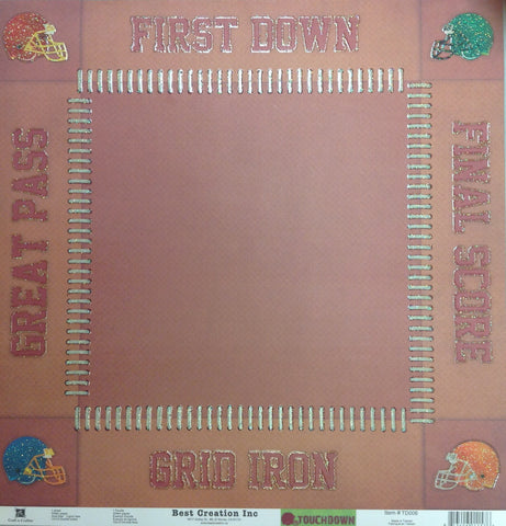 Best Creation TOUCHDOWN TD002 12X12 Football Sports Sheet - Scrapbook Kyandyland