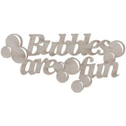 Fabscraps BUBBLES ARE FUN Die-Cut Grey Chipboard Word - Scrapbook Kyandyland