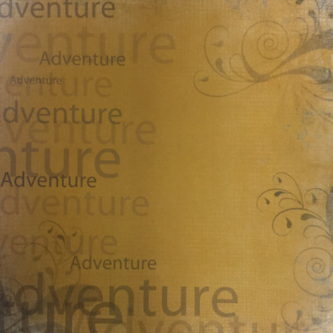 "ADVENTURE School Grunge Orange 12""X12"" Custom Travel Paper Sheet LV Scrapbooksrus"