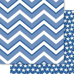"Bella Blvd Blue Collection CHEVRON 12""X12"" Scrapbook Paper - Scrapbook Kyandyland"