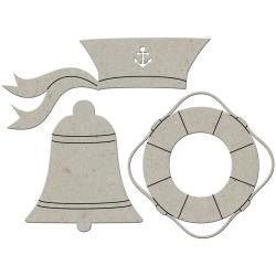 Fabscraps SAILOR HAT BELL LIFESAVER RING Die-Cut Grey Chipboard Word - Scrapbook Kyandyland