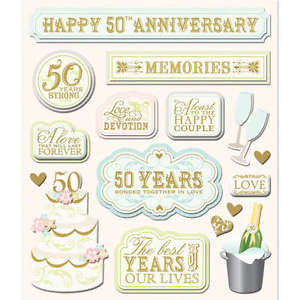 Life's Little Occasions 50 YEAR ANNIVERSARY 3D Sticker 16pc - Scrapbook Kyandyland