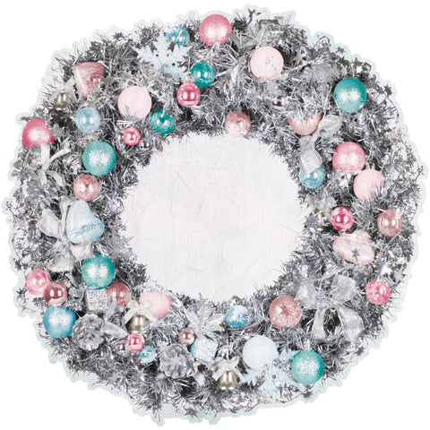 "Kaisercraft SILVER BELLS Collection Wreath 12""X12"" Die Cut Sheet - Scrapbook Kyandyland"