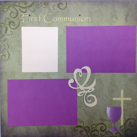 "Premade Scrapbook Page (1) 12""x12"" FIRST COMMUNION - Scrapbook Kyandyland"