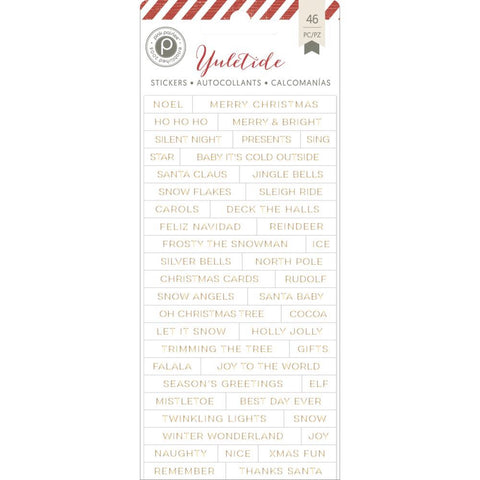 Pink Paislee YULETIDE Foiled Word Stickers 46 pc - Scrapbook Kyandyland