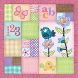 Paper House LITTLE GIRL QUILT 12X12 Scrapbook Baby Paper - Scrapbook Kyandyland
