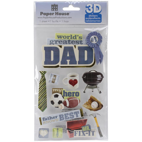 "Paper House DAD 3D Stickers 4.5""x 7"" 12pc - Scrapbook Kyandyland"