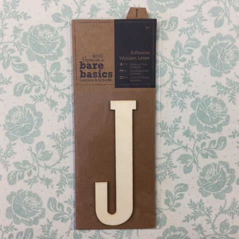Scrapbooksrus Papermania Bare Basics Wooden Adhesive LETTER J Wood Scrapbooksrus