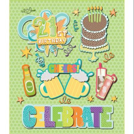 Life's Little Occasions 21ST BIRTHDAY 3D Sticker 18pc - Scrapbook Kyandyland