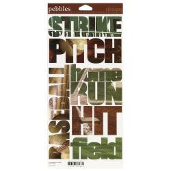 "Baseball Pebbles Snapshot WORD Stickers 6""X12"" Sheet - Scrapbook Kyandyland"