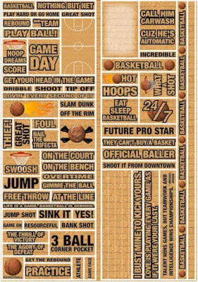 Reminisce BASKETBALL Real Sports Stickers 66pc - Scrapbook Kyandyland