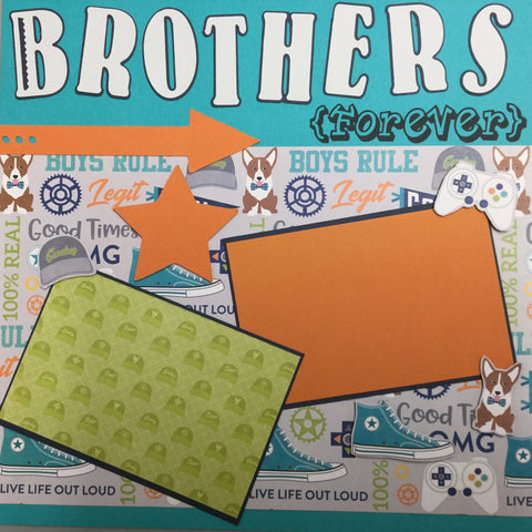 Premade BROTHERS AND FRIENDS (2) 12X12 Scrapbook Pages Scrapbooksrus