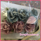 Mulberry Roses Flowers Leaves Beads LAVENDER & BLUE 11pc Scrapbooksrus