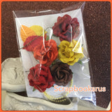 Mulberry Roses Flowers Leaves Beads EARTHY 11pc Scrapbooksrus