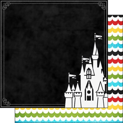 "Disney MAGICAL CASTLE DS 12""X12"" Scrapbook Paper Sheet - Scrapbook Kyandyland"