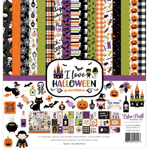 "Echo Park I LOVE HALLOWEEN 12""x12"" 13pc COLLECTION KIT Scrapbooksrus"